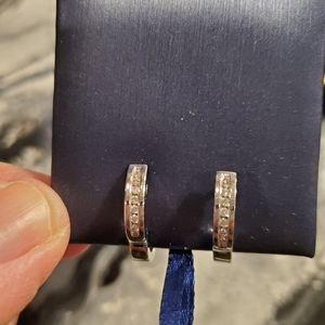 10k silver diamond hoops